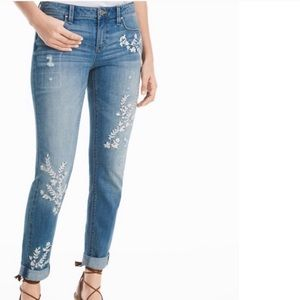 White House Black Market Jeans - WHBM The Girlfriend Embroidered Jean